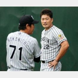 台風で中止になり、練習で中西投手コーチと話す呉昇桓(C)日刊ゲンダイ