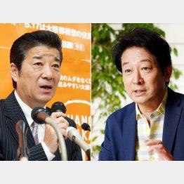 松井大阪府知事と辰巳琢郎(C)日刊ゲンダイ