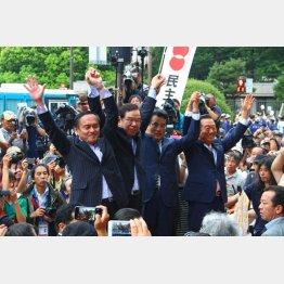 8月30日のデモに揃った野党の党首たち