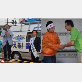 地元の選挙に遠藤五輪相も必死(左)吉村知事が梅津氏を全面支援(右)