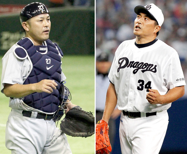 現役引退を表明した谷繁(左)と去就が注目される山本昌(C)日刊ゲンダイ