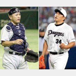 現役引退を表明した谷繁(左)と去就が注目される山本昌