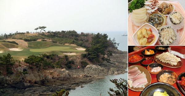 「韓一館」のアワビ海鮮料理(右上)と「忍冬草マウル」食堂のエイ、豚肉料理(提供写真)