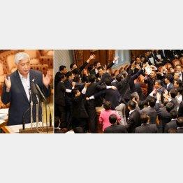 主催者の中谷防衛相(右)と「安保法案」で紛糾する参院(C)日刊ゲンダイ