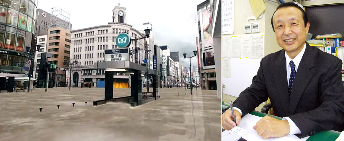 国交省作成の冠水した銀座のイメージ(左)と土屋信行氏(C)日刊ゲンダイ