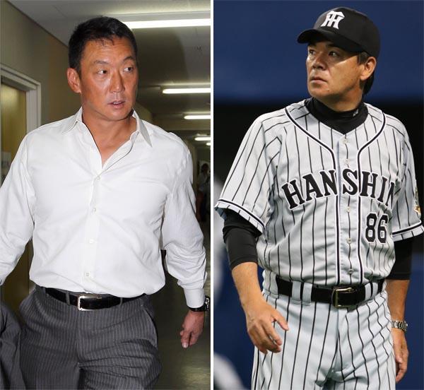 次期監督候補といわれている金本氏(左)と今季限りが確実な和田監督(C)日刊ゲンダイ