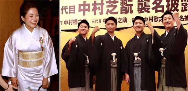 会見終了後の三田寛子(左)と中村橋之助父子(C)日刊ゲンダイ