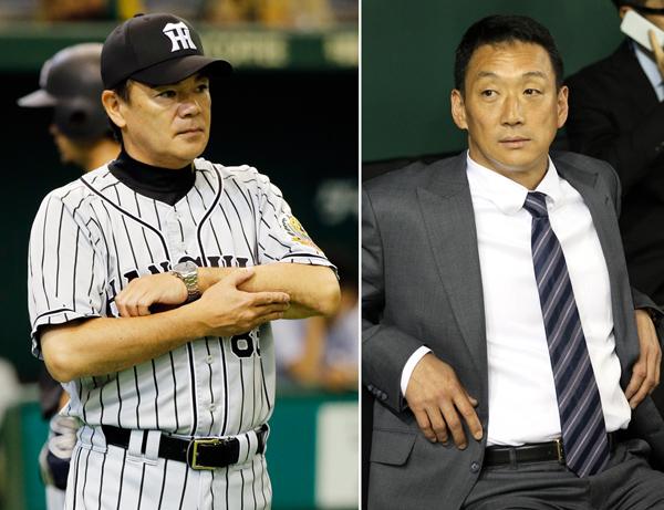 退任が決まった阪神の和田監督と金本氏(C)日刊ゲンダイ