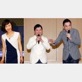 山口もえ(左)との結婚を発表する爆笑問題の田中(右は太田)/(C)日刊ゲンダイ