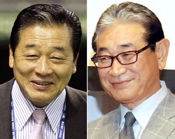 新監督に決まった梨田昌孝氏(左)と星野球団副会長(C)日刊ゲンダイ
