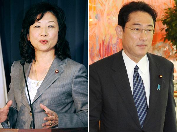 野田衆議院議員と岸田外相(C)日刊ゲンダイ