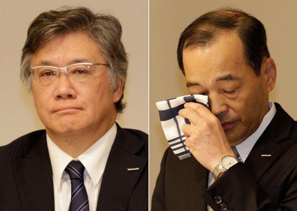 旭化成建材・前田社長(左)と旭化成・浅野社長(C)日刊ゲンダイ