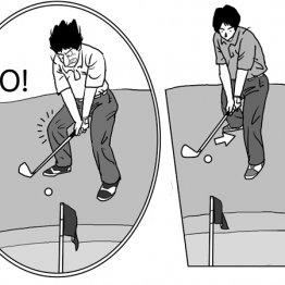 急な下り坂のアプローチはオープンスタンスで右足を引く