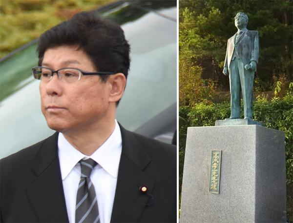 パンツが被せられた高木復興相の父・孝一氏の銅像(写真右)/(C)日刊ゲンダイ