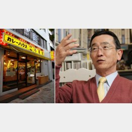 創業者の宗次徳二氏(右)と「カレーハウスCoCo壱番屋」の店舗