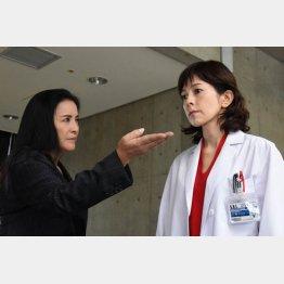 「組対の女」を演じる池上季実子(左)/