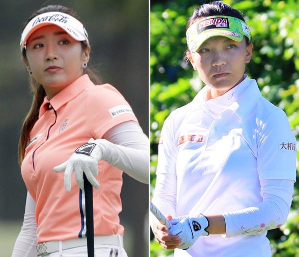 賞金ランク1位のイ・ボミ(左)とテレサ・ルー(C)日刊ゲンダイ