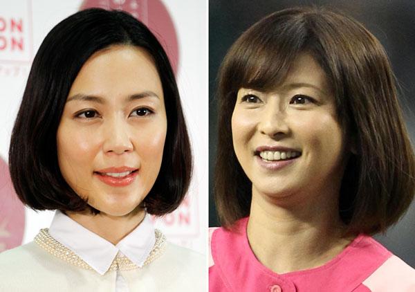 フジの番組では浮かばれない木村佳乃(左)と森高千里(C)日刊ゲンダイ