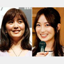 黒髪・色白の石橋杏奈(左)と高梨臨(C)日刊ゲンダイ