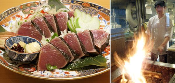 「TOSA DININGおきゃく」と「藁焼きカツオの塩たたき」(C)日刊ゲンダイ