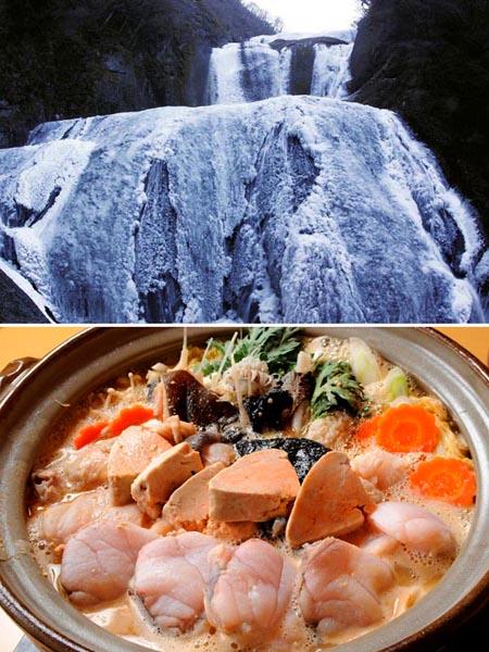 日本三大名瀑のひとつ「袋田の滝」(上)とアンコウ鍋(C)日刊ゲンダイ