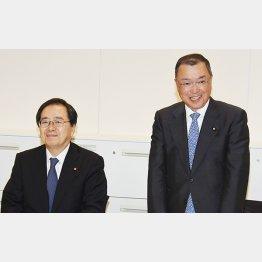 公明党の斉藤鉄夫税調会長(左)と自民党の宮沢洋一税調会長(C)日刊ゲンダイ