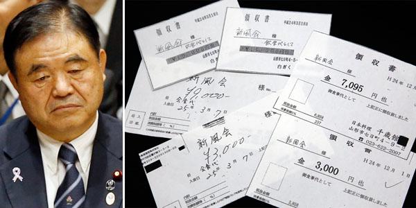 """遠藤五輪担当相と""""疑惑""""の領収書(C)日刊ゲンダイ"""
