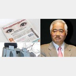 問題の意見広告(左上)と岸井成格氏(C)日刊ゲンダイ