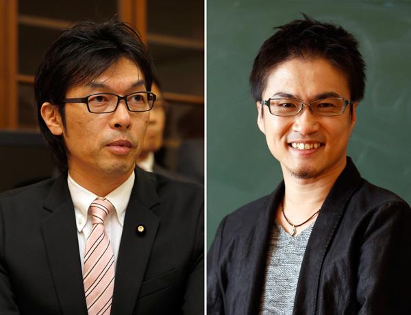 松田公太参院議員(左)と乙武洋匡氏(C)日刊ゲンダイ