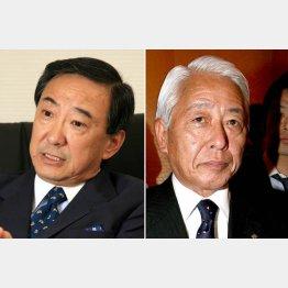 丸紅朝田会長(左)と勝俣相談役(C)日刊ゲンダイ