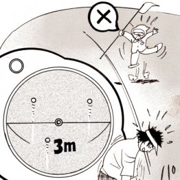 ロングパットはカップ周辺の大きな円に入れるイメージ