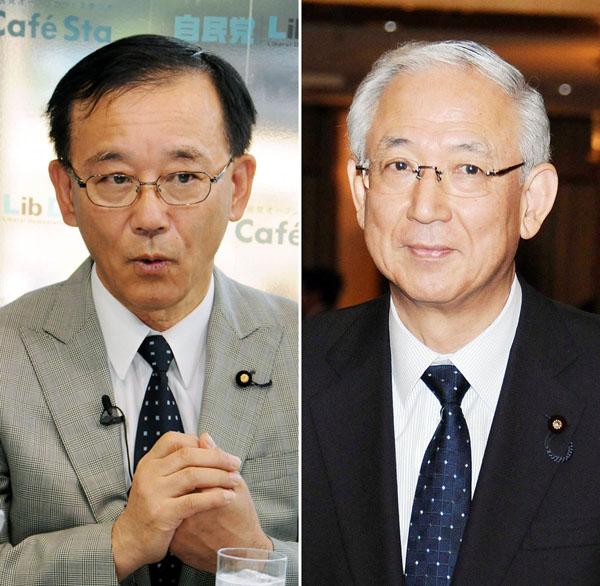 自民党の谷垣幹事長(左)と公明党の井上幹事長(C)日刊ゲンダイ