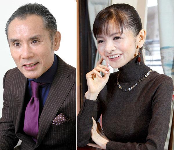 片岡鶴太郎(左)に感謝する園山真希絵(C)日刊ゲンダイ