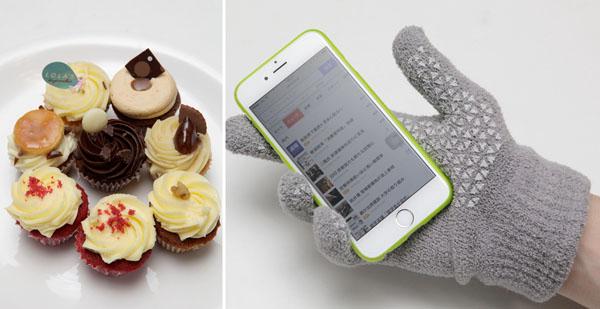 ロンドンから上陸した「ローラズ」のカップケーキ(左)とタッチパネル対応の手袋(C)日刊ゲンダイ
