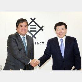 三井物産の安永社長(左)と飯島会長