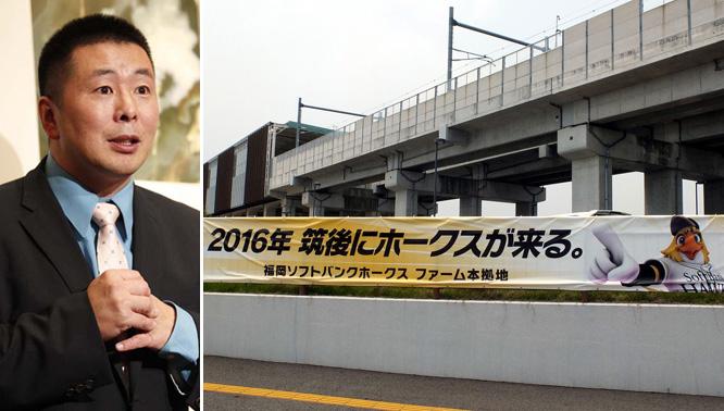 小林至氏(左)と建設が進む「HAWKSベースボールパーク筑後」(C)日刊ゲンダイ