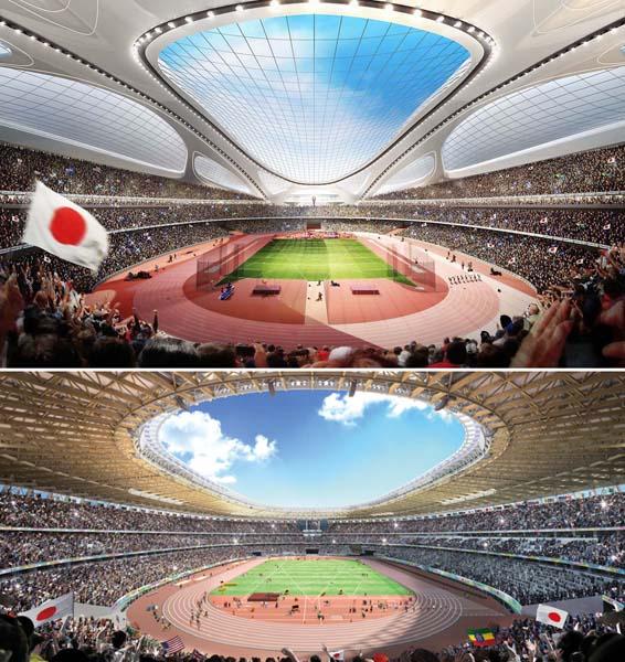 確かに似ているが…(上がザハ女史案、下がA案)(日本スポーツ振興センター提供)