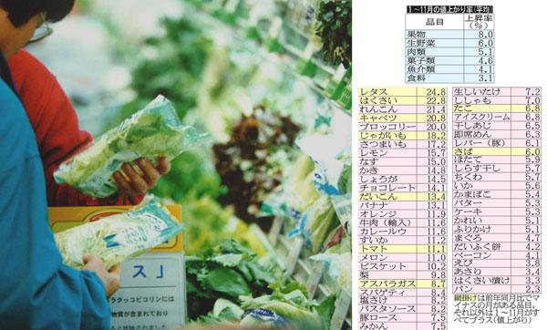 野菜は軒並み20%超の値上がり(C)日刊ゲンダイ