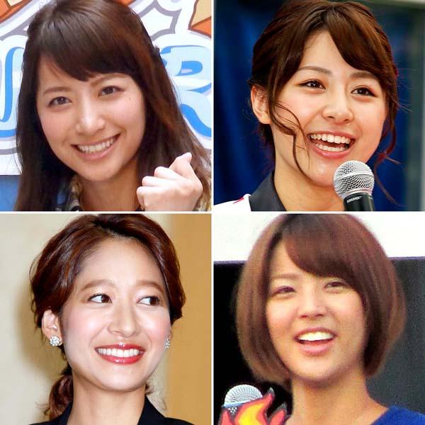 (左上から時計回りに)笹崎里菜アナ、林美紗希アナ、久代萌美アナ、吉田明世アナ(C)日刊ゲンダイ