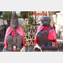 東京都港区赤坂の「日枝神社」の「神猿」、夫の猿と妻の猿(C)日刊ゲンダイ