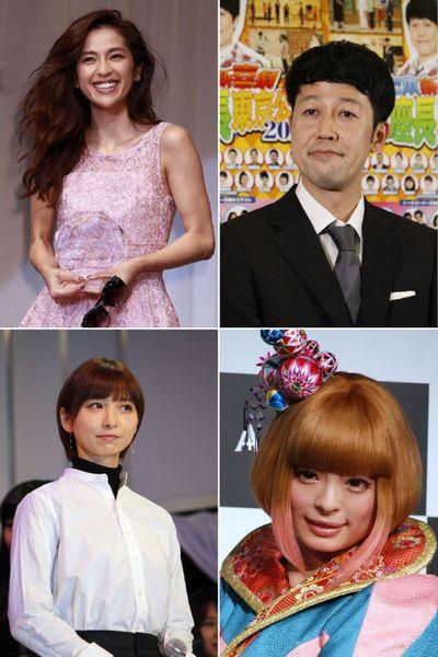 左上から時計回りに中村アン、小籔千豊、きゃりーぱみゅぱみゅ、篠田麻里子(C)日刊ゲンダイ