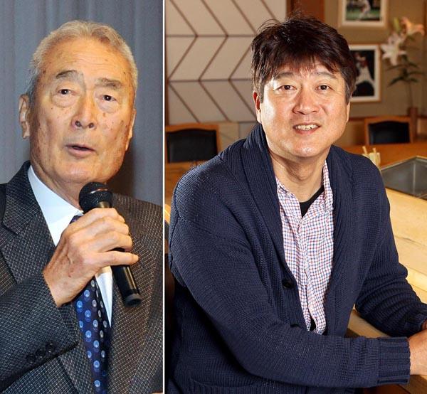 金田正一氏(左)と金石昭人氏(C)日刊ゲンダイ