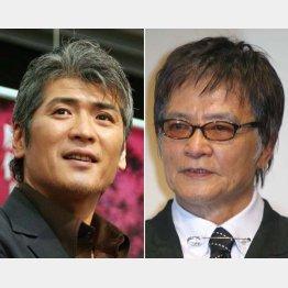 白髪がサマになる吉川晃司(左)と緒形拳