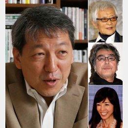 左から時計回りで竹田圭吾と緒形拳と原田芳雄と川島なお美(C)日刊ゲンダイ