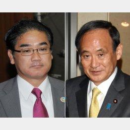 佐喜真宜野湾市長(左)と菅官房長官(C)日刊ゲンダイ