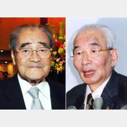 イオン(旧ジャスコ)の岡田卓也元会長(左)とダイエーの中内功元会長
