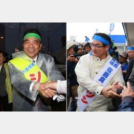 新人の志村候補(左)と現職の佐喜真候補