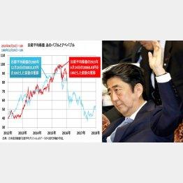 田代秀敏氏が作成した「アベバブル」のグラフと安倍首相(C)日刊ゲンダイ