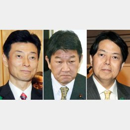 左から西村、茂木、林の3氏(C)日刊ゲンダイ