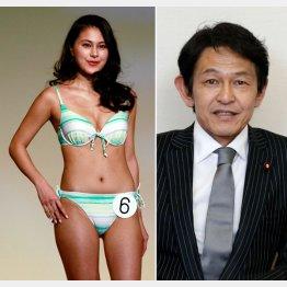 松野未佳さんと父親の松野頼久「維新の党」代表(C)日刊ゲンダイ